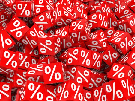 Red discount cubes. 3D illustration. 版權商用圖片