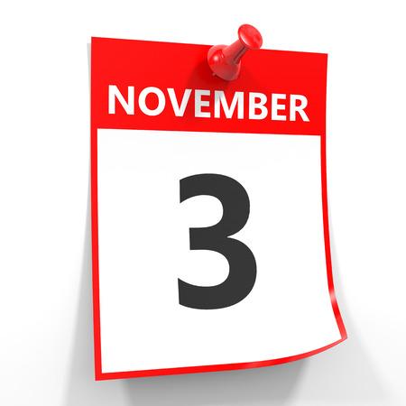 calendario noviembre: 03 de noviembre de hoja de calendario con la clavija roja sobre fondo blanco. Ilustración.