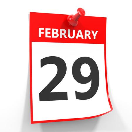 29 februari kalender blad met rode pin op een witte achtergrond. Illustratie.