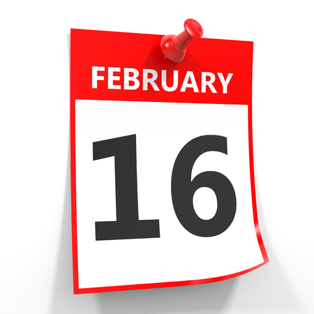 sixteenth note: 16 february calendar sheet with red pin on white background. Illustration.