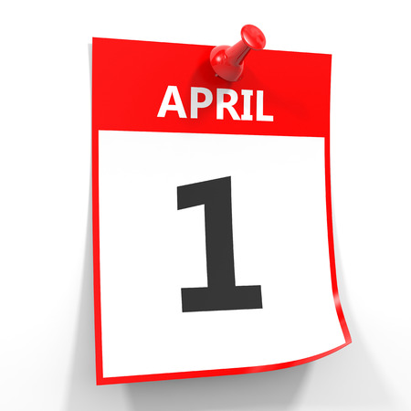 1 april calendar sheet with red pin on white background. Illustration.