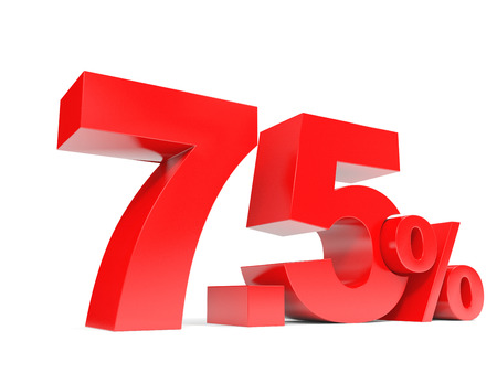 price hit: Red seven point five percent off. Discount 7.5 percent. 3D illustration.
