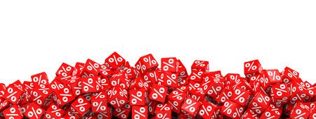 Red discount cubes. 3D illustration. Archivio Fotografico