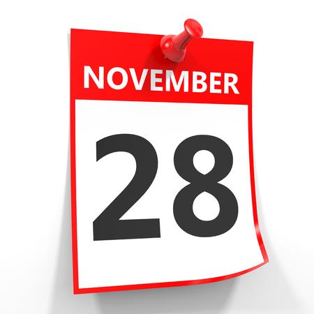 calendario noviembre: 28 de noviembre de hoja de calendario con la clavija roja sobre fondo blanco. Ilustración.