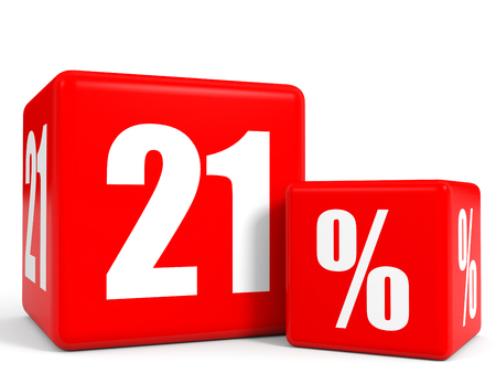 twenty one: Red sale cubes. Twenty one percent discount. 3D illustration. Stock Photo