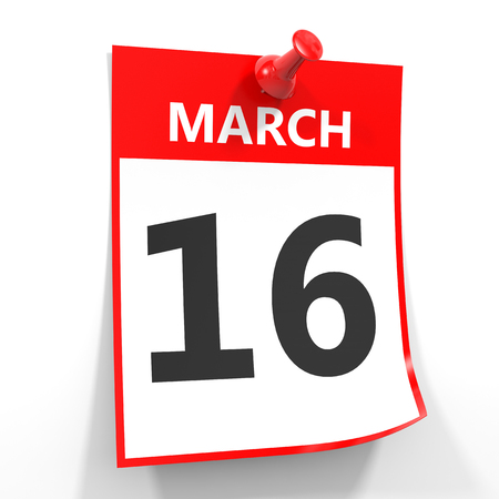 16: 16 march calendar sheet with red pin on white background. Illustration. Stock Photo