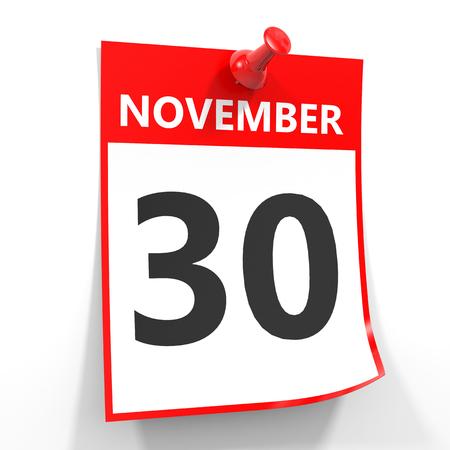 calendario noviembre: 30 de noviembre de hoja de calendario con la clavija roja sobre fondo blanco. Ilustración.