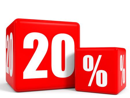 レッド販売キューブ。20% 割引となります。3 D イラスト。 写真素材