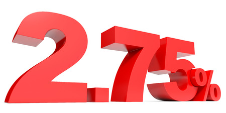 seventy two: Red two point seven five percent off. Discount 2.75 percent. 3D illustration.