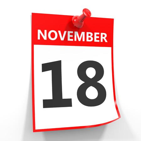 18 november calendar sheet with red pin on white background. Illustration. 版權商用圖片