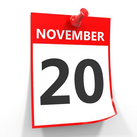 calendario noviembre: 20 de noviembre de hoja de calendario con la clavija roja sobre fondo blanco. Ilustración.