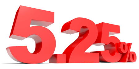 selling points: Red five point two five percent off. Discount 5.25 percent. 3D illustration.