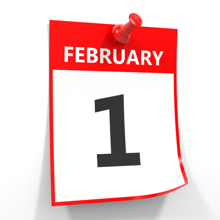 february 1: 1 february calendar sheet with red pin on white background. Illustration.