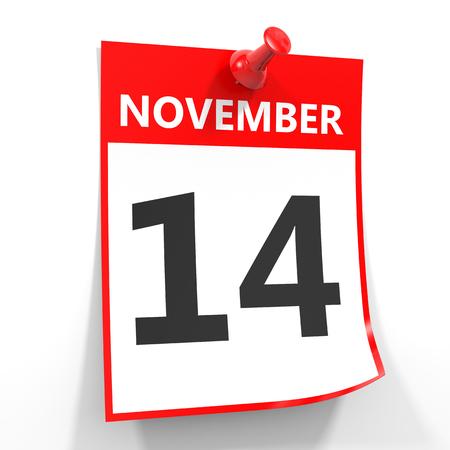 calendario noviembre: 14 de noviembre de hoja de calendario con la clavija roja sobre fondo blanco. Ilustración. Foto de archivo