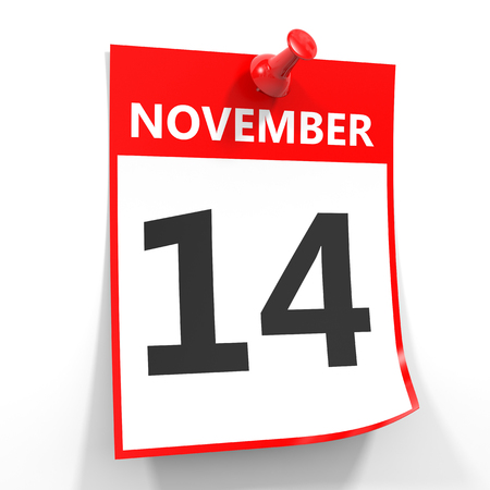 red pin: 14 november calendar sheet with red pin on white background. Illustration. Stock Photo