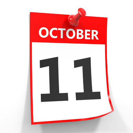 number 11: 11 october calendar sheet with red pin on white background. Illustration.