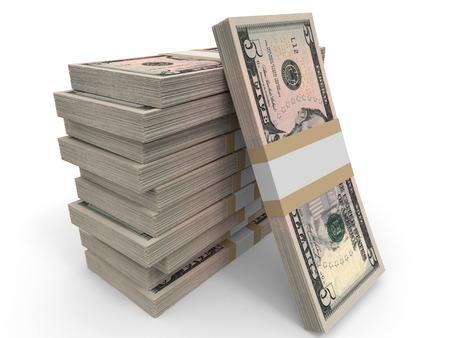 dollar: Cinque banconote in dollari sfondo. Illustrazione 3D. Archivio Fotografico