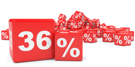 36 6: Red sale cubes. Thirty six percent discount. 3D illustration. Stock Photo