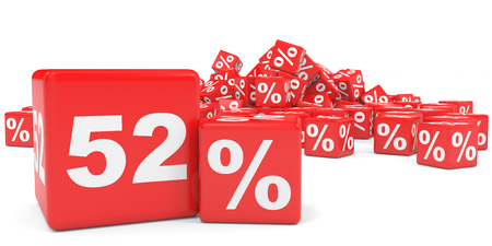 2 50: Red sale cubes. Fifty two percent discount. 3D illustration.