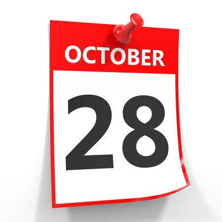 october calendar: 28 hoja de calendario octubre con el pin rojo sobre fondo blanco. Ilustración. Foto de archivo
