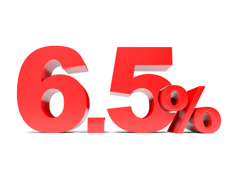 selling points: Red six point five percent off. Discount 6.5 percent. 3D illustration.