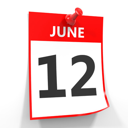 12 june calendar sheet with red pin on white background. Illustration.
