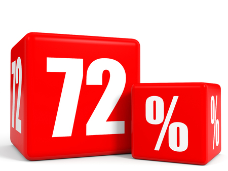 seventy two: Red sale cubes. Seventy two percent discount. 3D illustration.