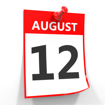 12: 12 august calendar sheet with red pin on white background. Illustration.