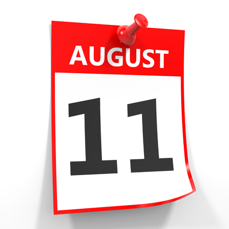 11 number: 11 august calendar sheet with red pin on white background. Illustration.