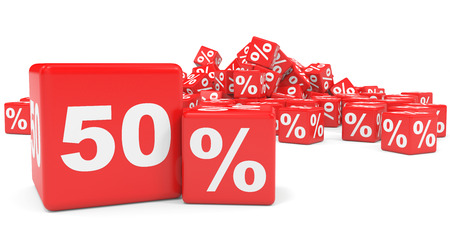 price hit: Red sale cubes. Fifty percent discount. 3D illustration.
