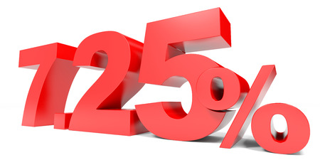selling points: Red seven point two five percent off. Discount 7.25 percent. 3D illustration.