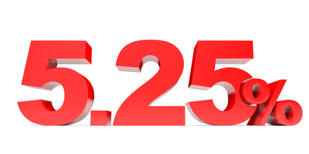 price hit: Red five point two five percent off. Discount 5.25 percent. 3D illustration.