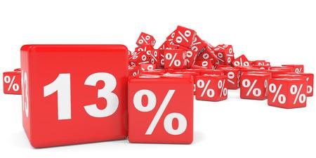 thirteen: Red sale cubes. Thirteen percent discount. 3D illustration. Stock Photo