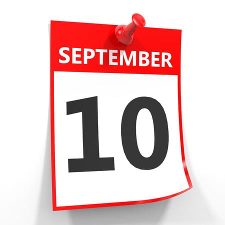 september calendar: 10 september calendar sheet with red pin on white background. Illustration.