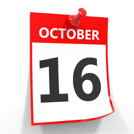 october calendar: 16 hoja de calendario octubre con el pin rojo sobre fondo blanco. Ilustración.