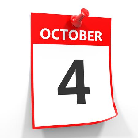 october calendar: 04 de octubre de hoja de calendario con la clavija roja sobre fondo blanco. Ilustración.