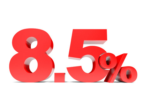 price hit: Red eight point five percent off. Discount 8.5 percent. 3D illustration.