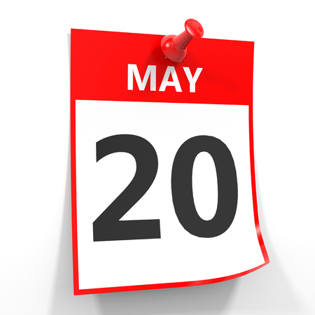 twentieth: 20 may calendar sheet with red pin on white background. Illustration. Stock Photo