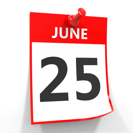 25 june calendar sheet with red pin on white background. Illustration.