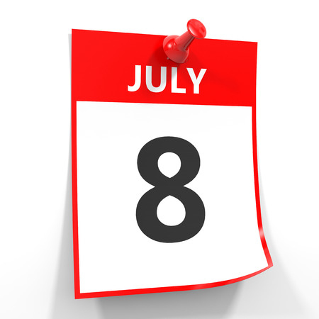 calendario julio: 08 de julio de hoja de calendario con la clavija roja sobre fondo blanco. Ilustración. Foto de archivo