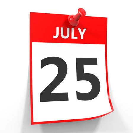 calendario julio: 25 hoja de calendario de julio con la clavija roja sobre fondo blanco. Ilustración.