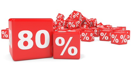 eighty: Red sale cubes. Eighty percent discount. 3D illustration.
