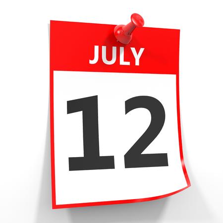 calendario julio: 12 hoja de calendario julio con el pin rojo sobre fondo blanco. Ilustración.