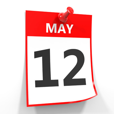 12: 12 may calendar sheet with red pin on white background. Illustration.
