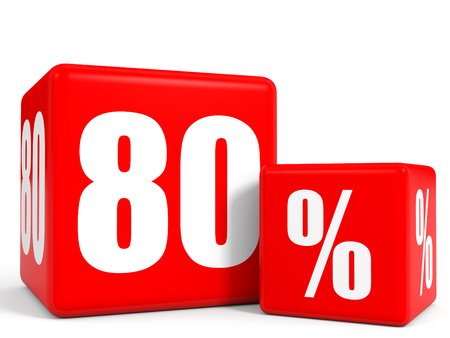 price hit: Red sale cubes. Eighty percent discount. 3D illustration.