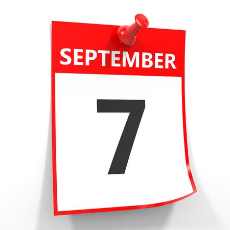 september calendar: 7 september calendar sheet with red pin on white background. Illustration.