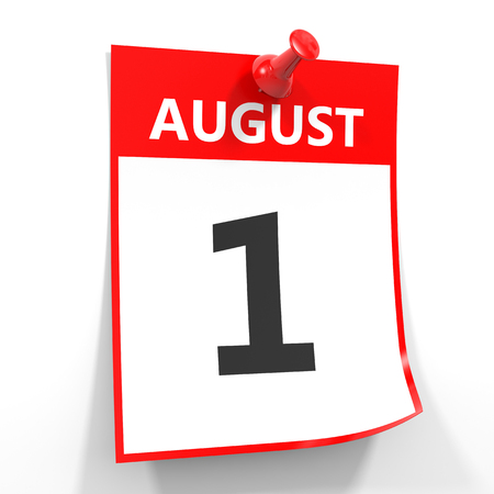 one on one meeting: 1 august calendar sheet with red pin on white background. Illustration.