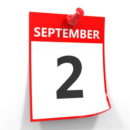 september calendar: 2 september calendar sheet with red pin on white background. Illustration. Stock Photo