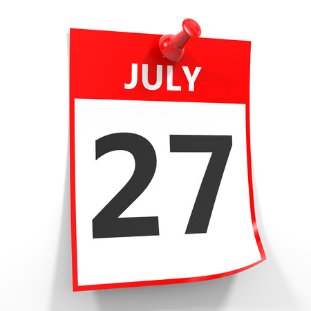july calendar: 27 july calendar sheet with red pin on white background. Illustration. Stock Photo