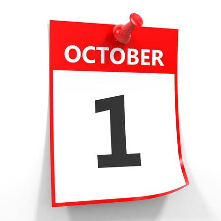 calendario octubre: 01 de octubre de hoja de calendario con la clavija roja sobre fondo blanco. Ilustraci�n. Foto de archivo